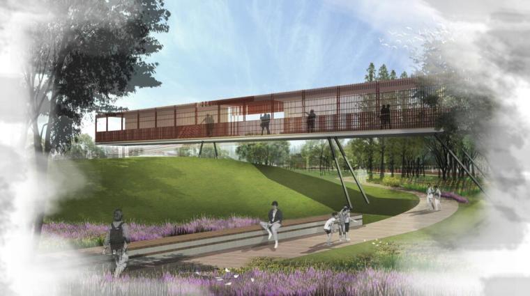[云南]新海河滨河带状公园工程方案设计-云迹园观景台效果图