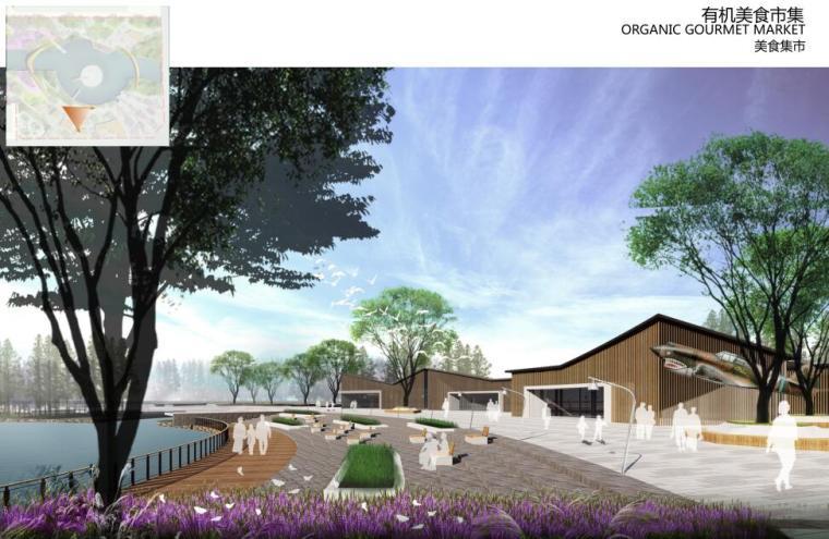 [云南]新海河滨河带状公园工程方案设计-美食集市效果图