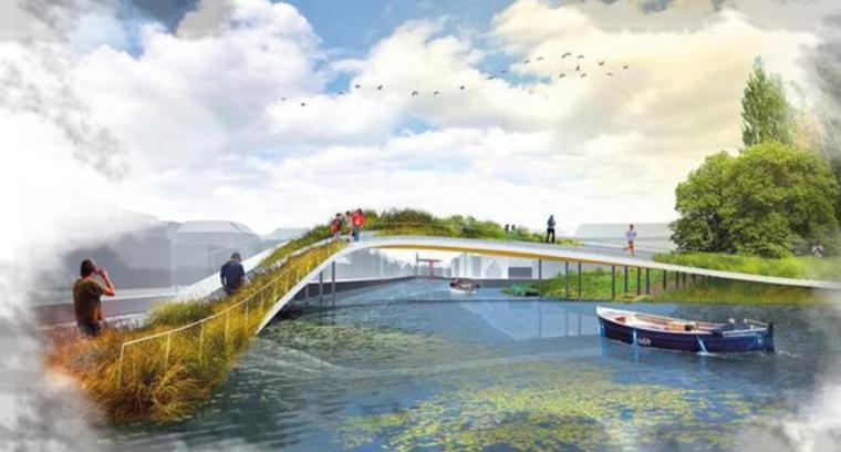 [云南]新海河滨河带状公园工程方案设计-景观桥效果图