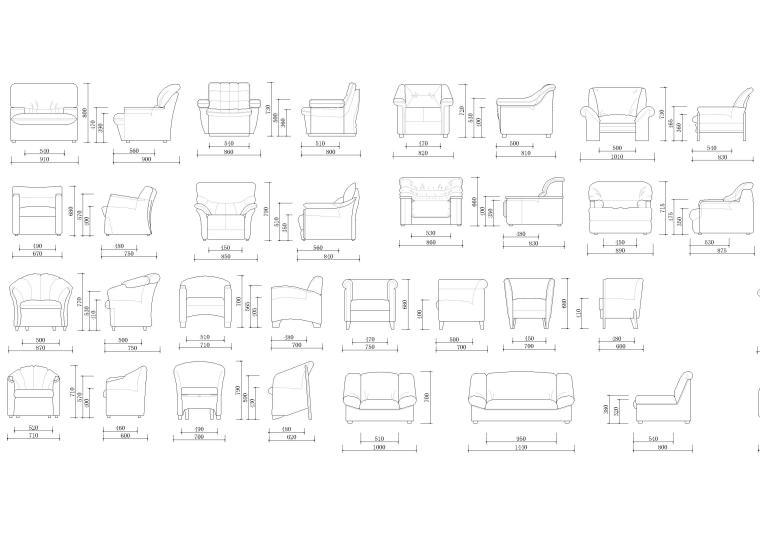 室内CAD装饰家具图块-单人沙发立面图块