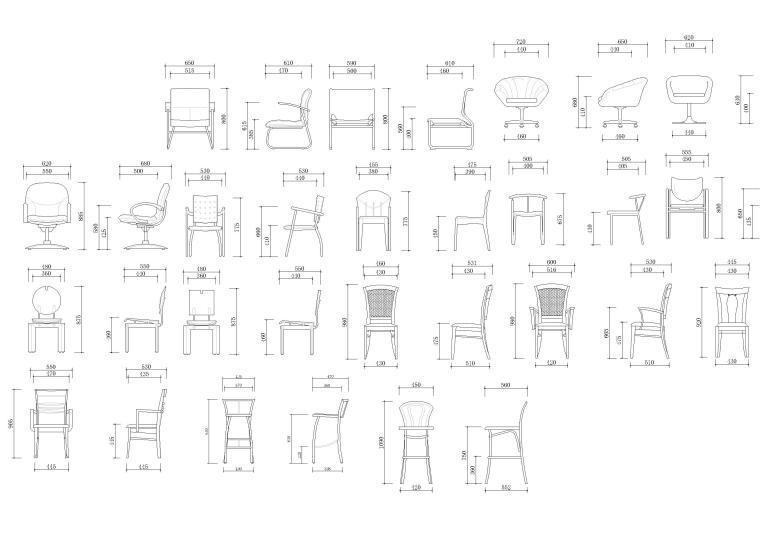 室内CAD装饰家具图块-椅子立面图块