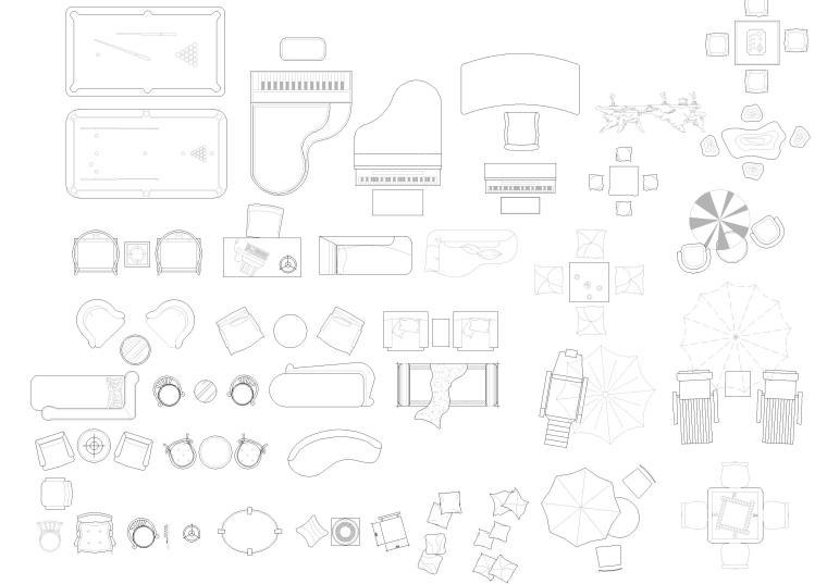 精选室内CAD装饰图块-常用家具图块