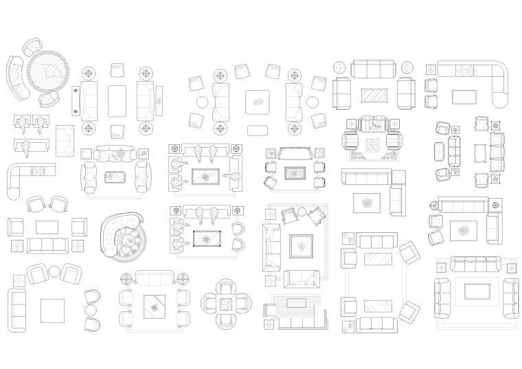 精选室内CAD装饰图块-常用家具图块2
