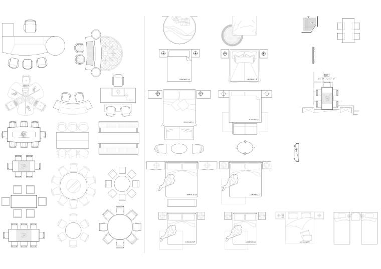 精选室内CAD装饰图块-常用家具图块3