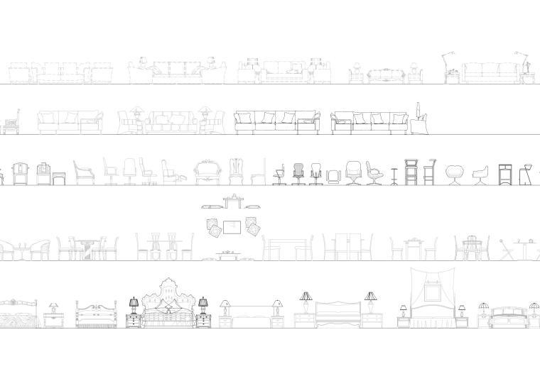 精选室内CAD装饰图块-常用家具图块4