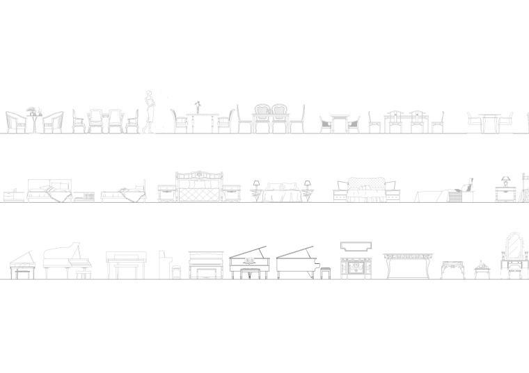 精选室内CAD装饰图块-常用家具图块5