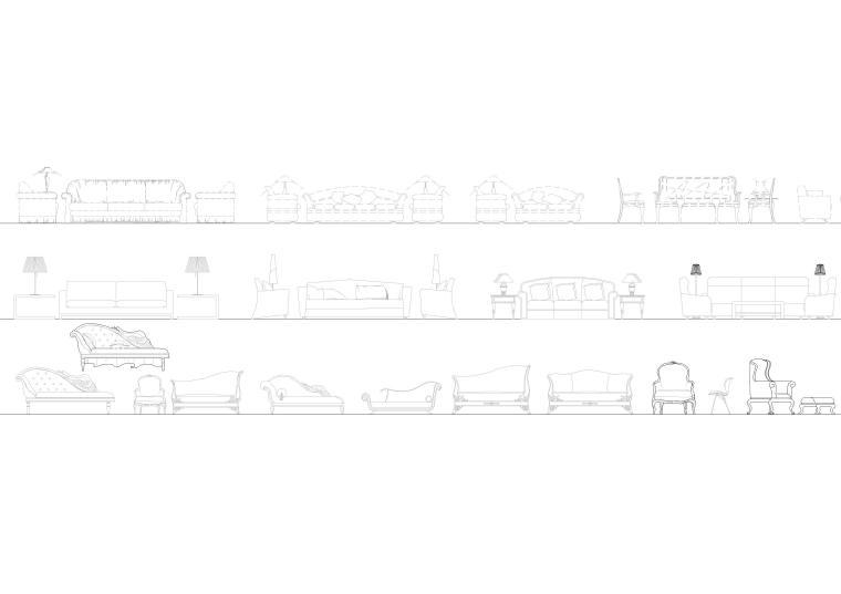 精选室内CAD装饰图块-沙发图块