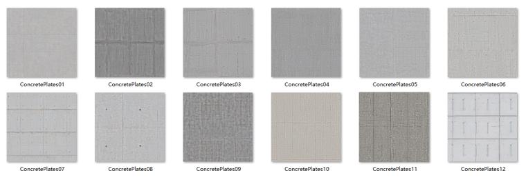 穿孔板铝板贴图资料下载-混凝土板类材质贴图
