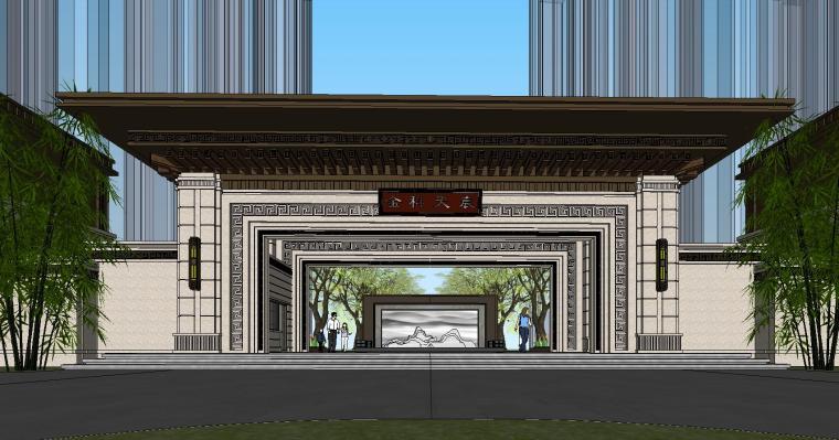 重庆永川金科集美天宸大门及商业建筑模型 (1)