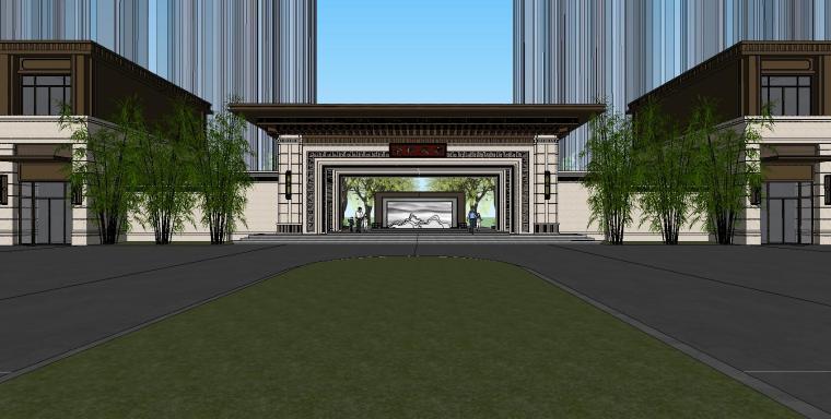重庆永川金科集美天宸大门及商业建筑模型 (2)