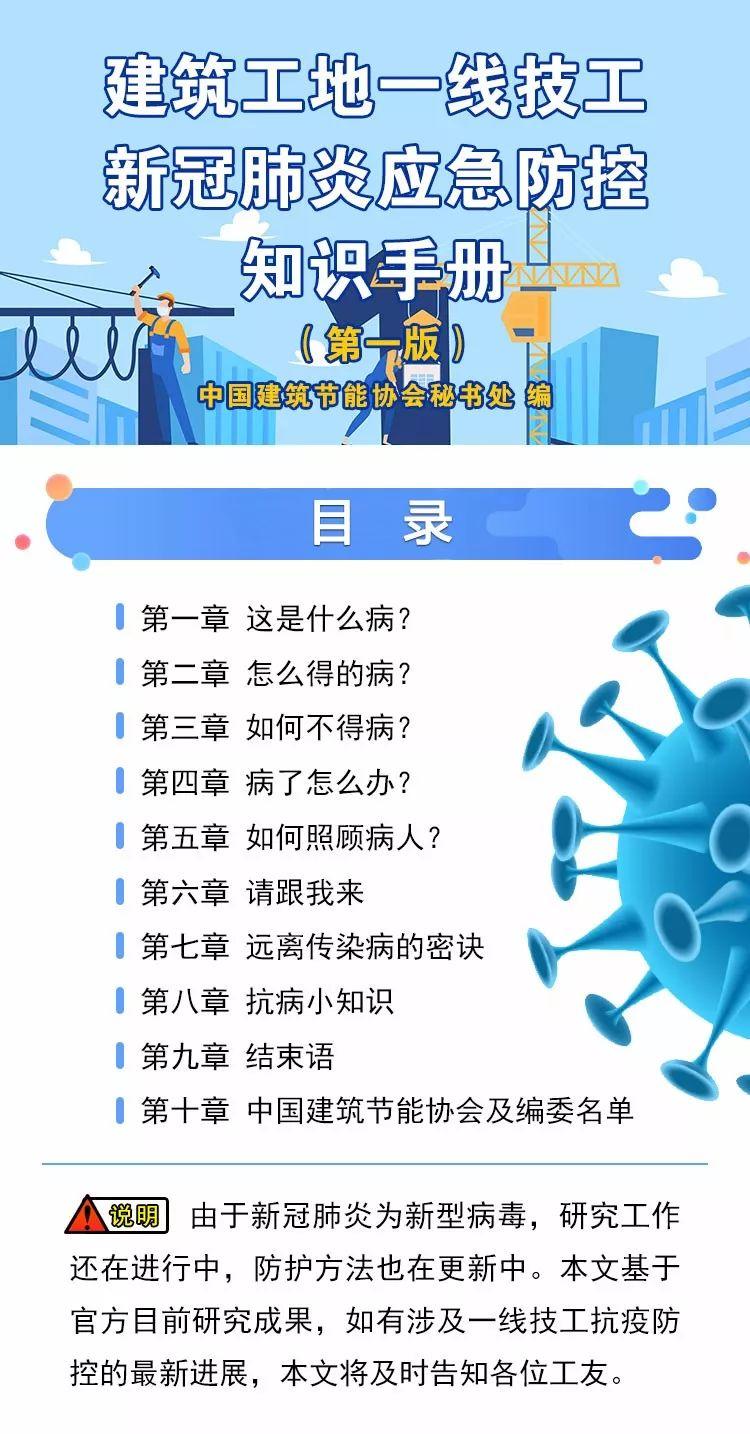 建筑工地一线技工新冠肺炎应急防控知识手册_1