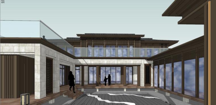 中式独栋别墅建筑模型设计 (5)