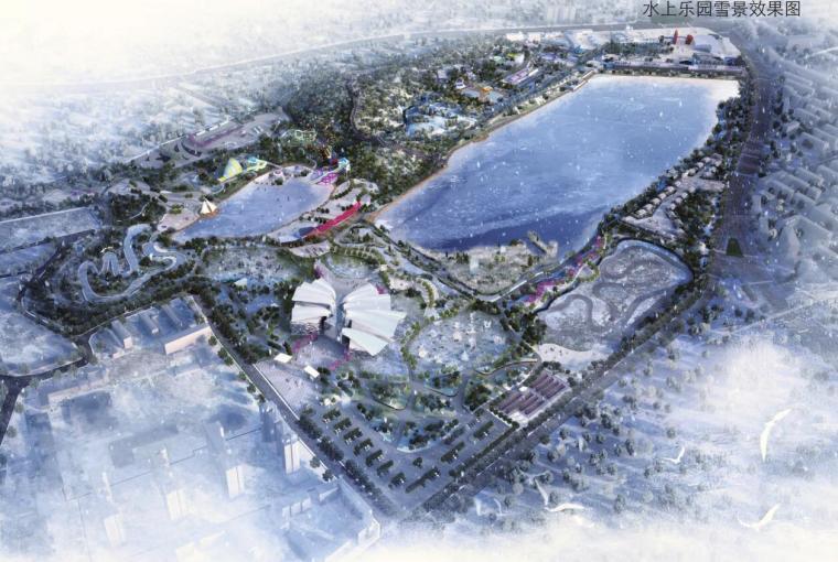 [新疆]水上乐园综合公园景观概念设计-水上乐园雪景效果图