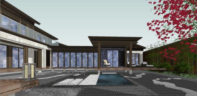 中式独栋别墅建筑模型设计 (3)