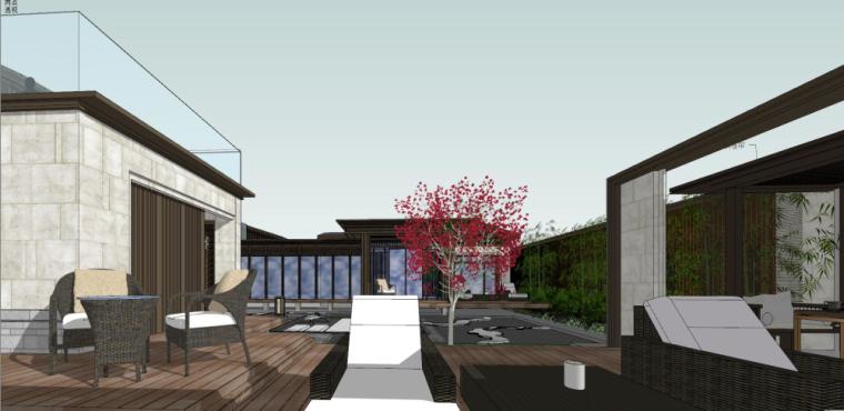 中式独栋别墅建筑模型设计 (2)