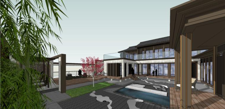 中式独栋别墅建筑模型设计 (4)