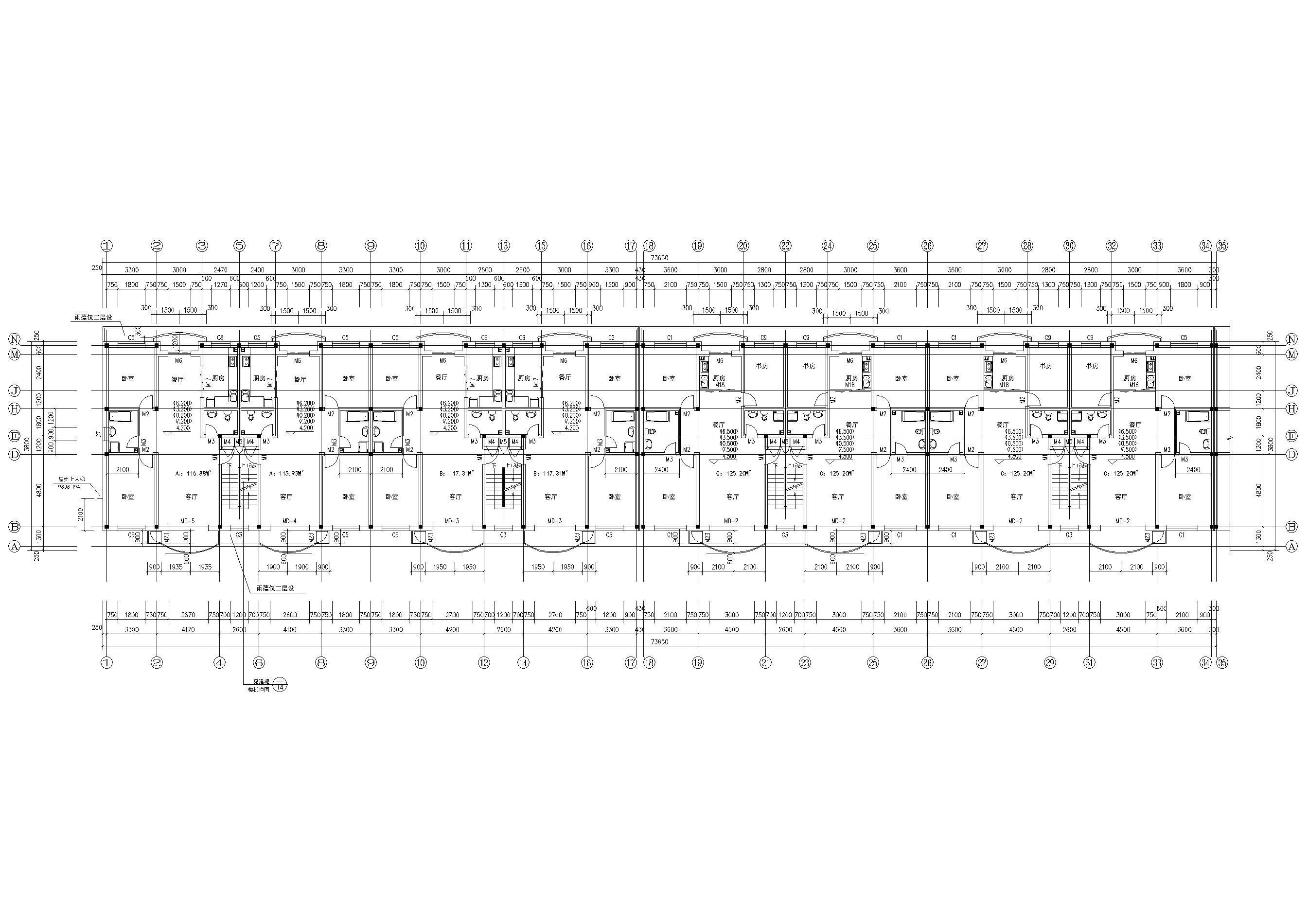某六层多层住宅楼建筑施工图纸