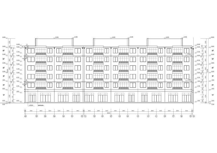 某六层多层住宅楼建筑施工图纸-北轴立面图