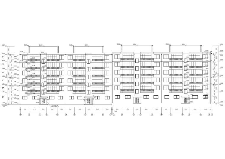 某六层多层住宅楼建筑施工图纸-南轴立面图