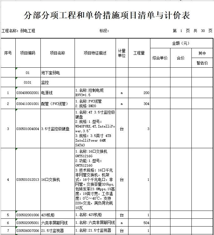 办公楼建设项目弱电工程量清单