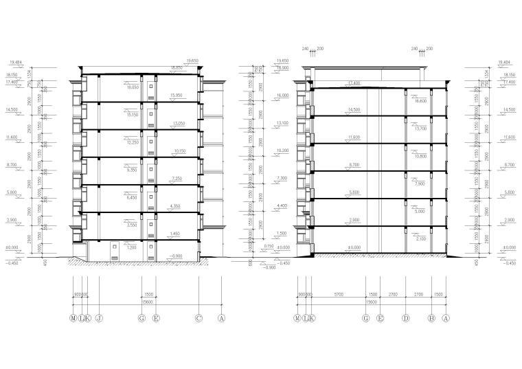 某七层多层住宅建筑方案扩初图-建筑剖面图