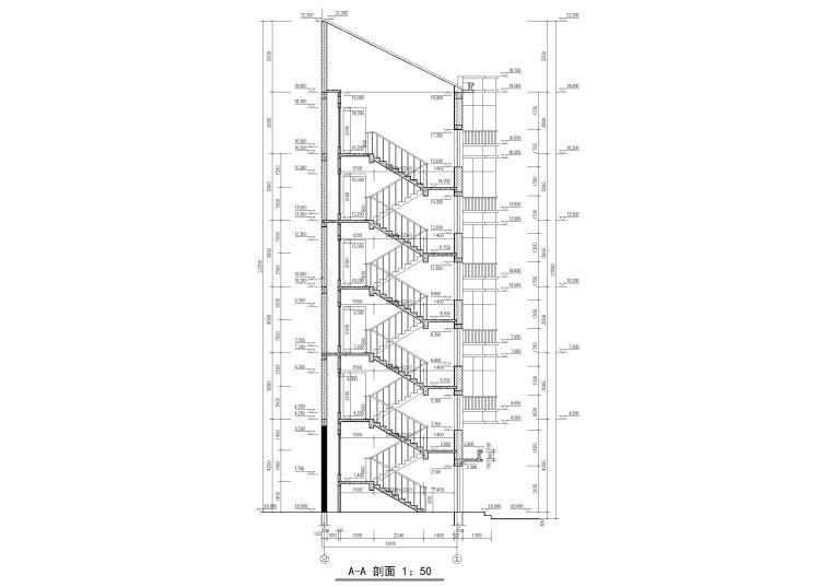 某六层多层住宅楼建筑施工图纸-建筑楼梯剖面图