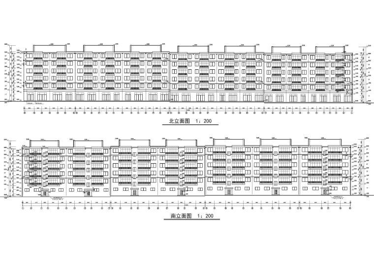 某六层多层住宅楼建筑施工图纸-南北全立面图