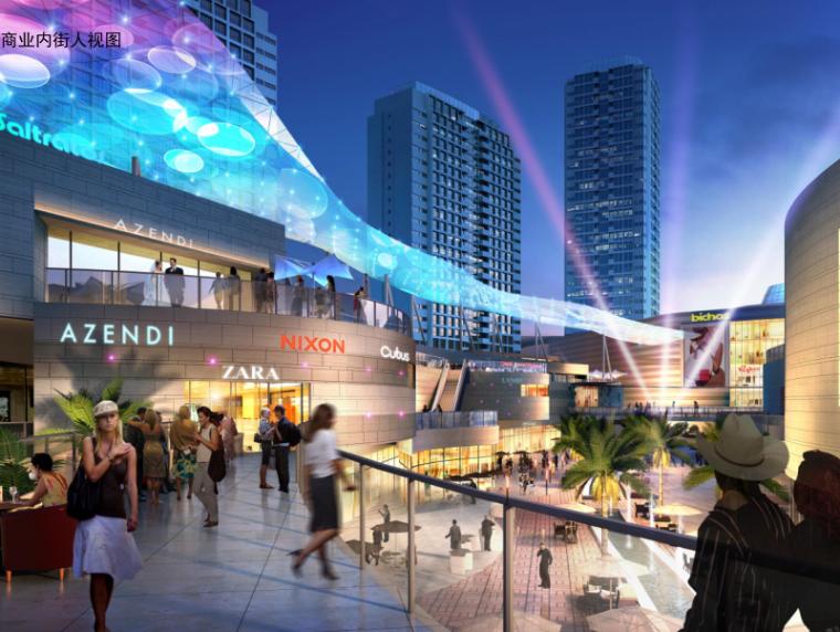 易县新区滨河城市综合体规划与建筑方案文本-商业内街人视图