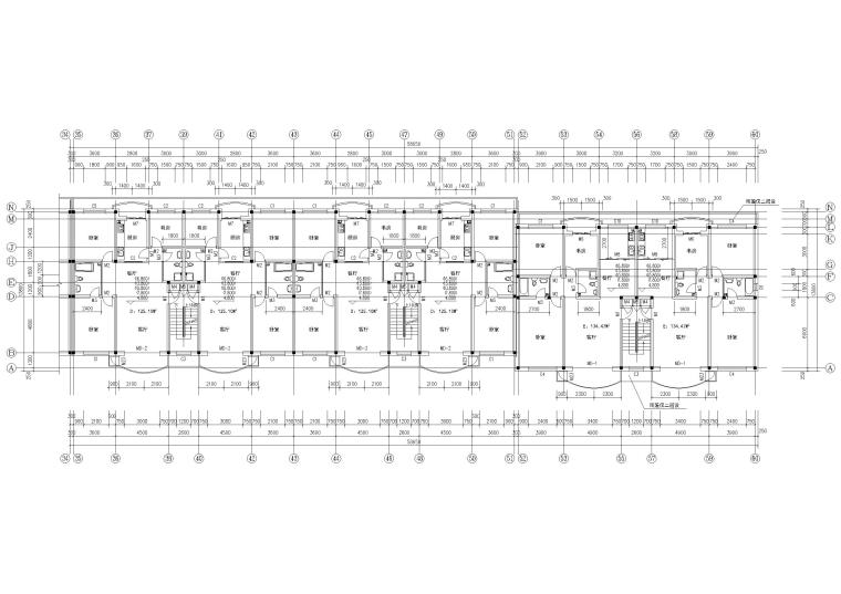 某六层多层住宅楼建筑施工图纸-二~六层组合平面图