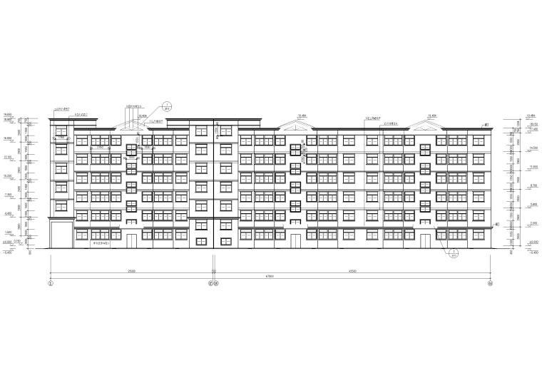 某七层多层住宅建筑方案扩初图-正立面图