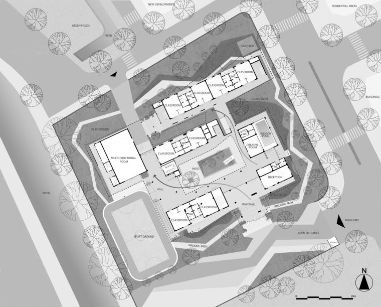 """五彩斑斓,互相嵌套的""""山坡'幼儿园-m2 _masterplan.jpg"""