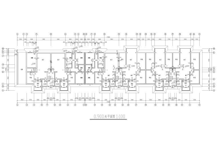 某七层多层住宅建筑方案扩初图-0.900处平面图