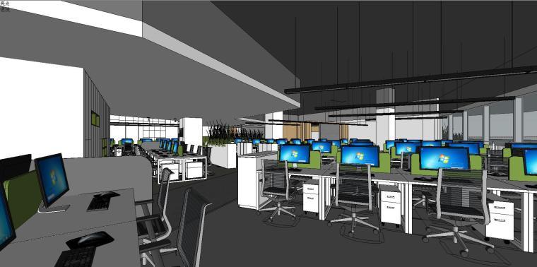 新方重庆沙区总部办公室内su模型设计 (3)