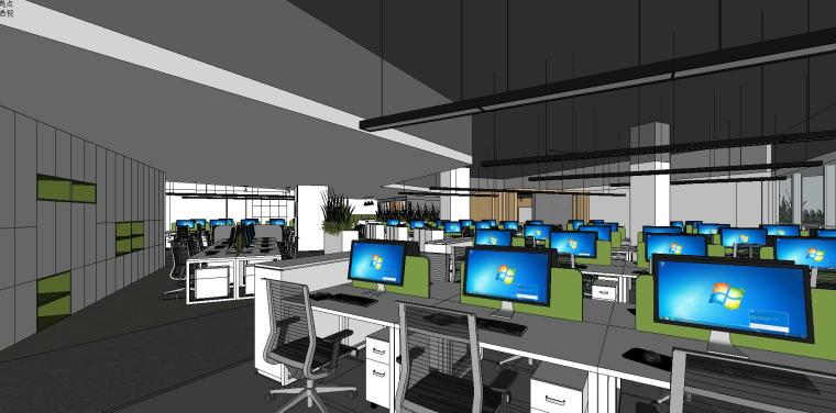 新方重庆沙区总部办公室内su模型设计 (4)