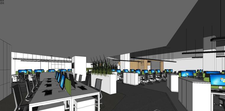 新方重庆沙区总部办公室内su模型设计 (7)
