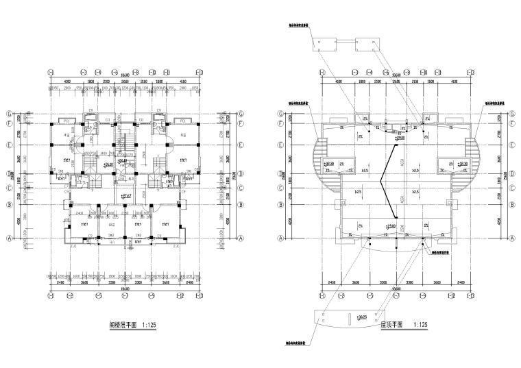 [长春]金玉良园小区高层建筑施工图-阁楼,屋顶层平面图