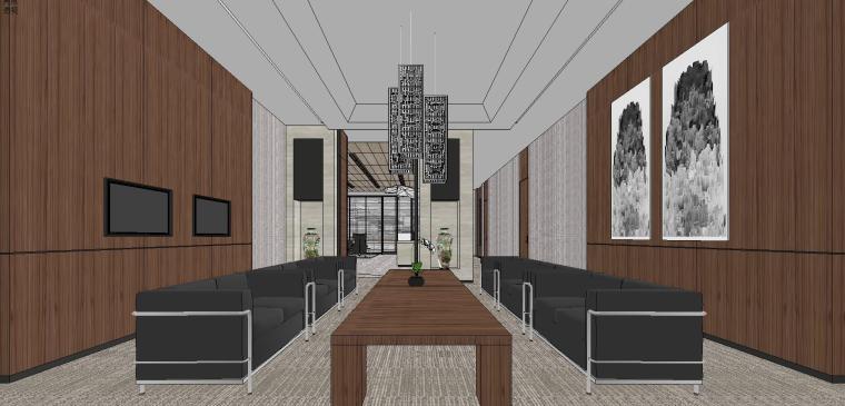 现代风企业办公室室内su模型设计