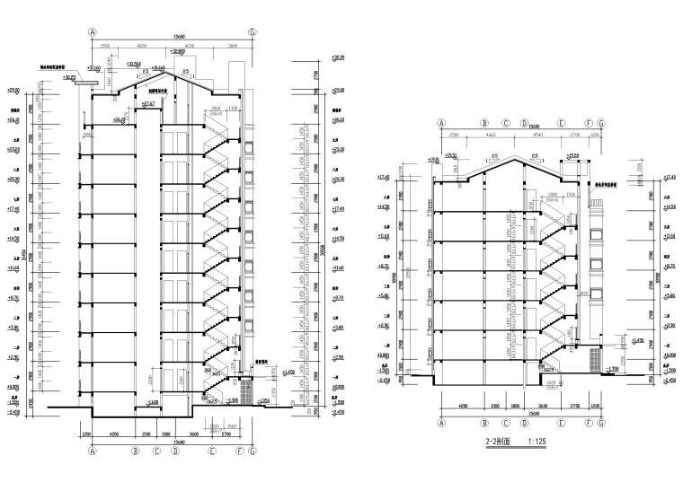 [长春]金玉良园小区高层建筑施工图-建筑剖面图