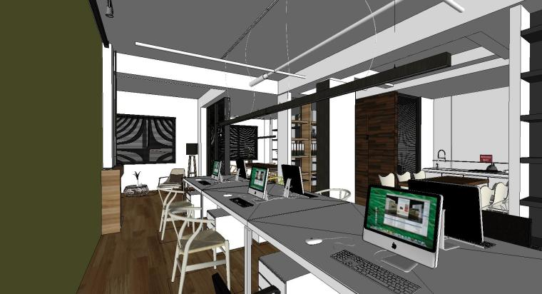 现代风格办公空间室内su模型设计