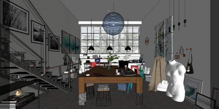 loft现代工作室室内su模型设计-loft现代工作室室内su模型设计 (1)