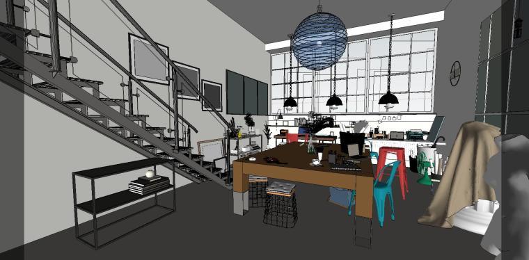 loft现代工作室室内su模型设计-loft现代工作室室内su模型设计 (4)