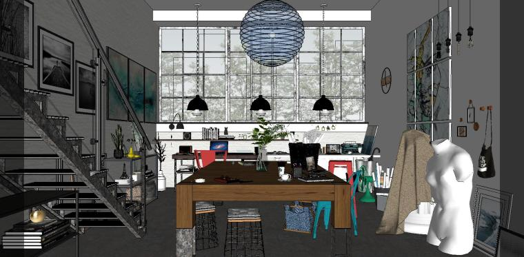 loft现代工作室室内su模型设计-loft现代工作室室内su模型设计 (2)