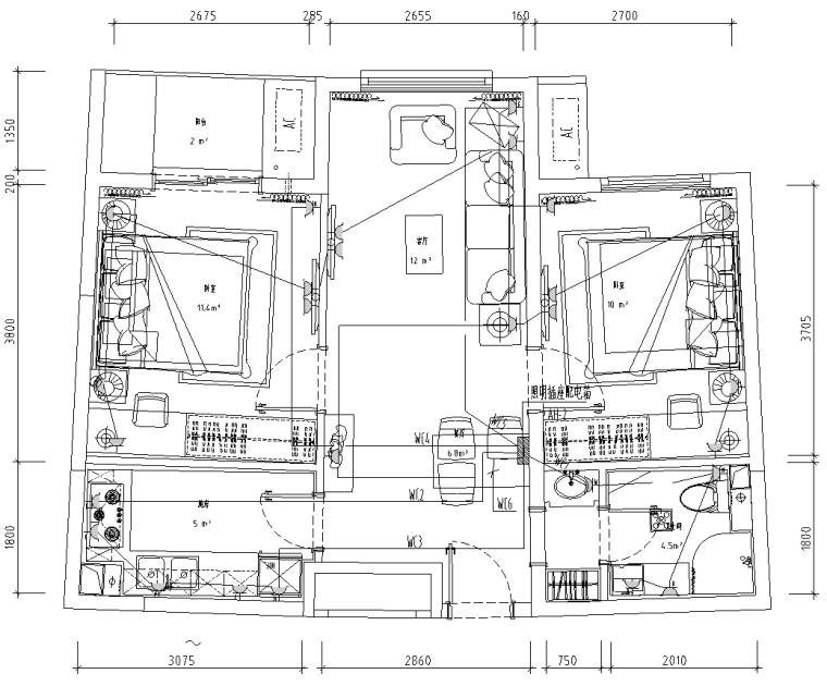 北京白领公寓室内装修电气施工图