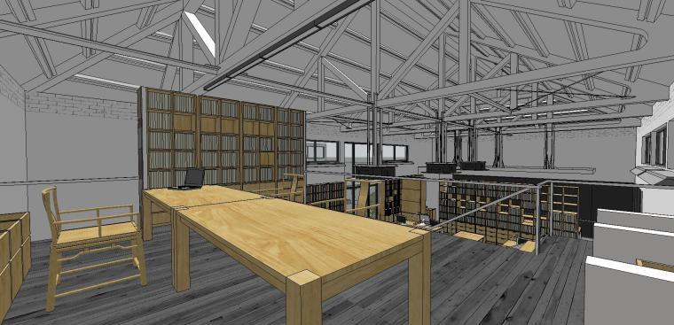 现代工业风办公室室内su模型设计 (2)