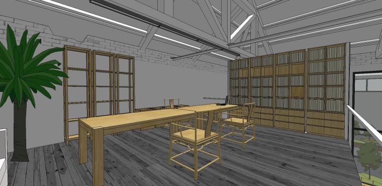 现代工业风办公室室内su模型设计 (3)