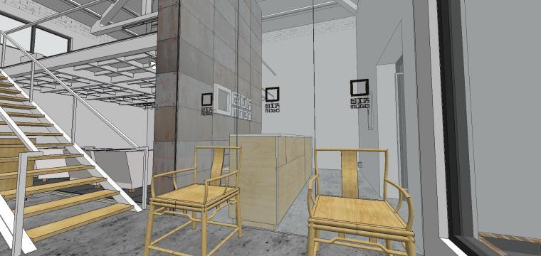 现代工业风办公室室内su模型设计 (5)