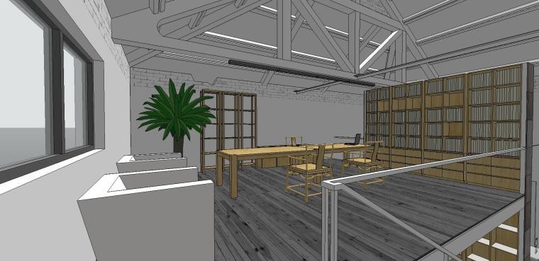 现代工业风办公室室内su模型设计 (4)