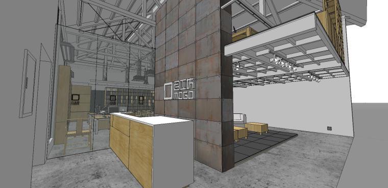 现代工业风办公室室内su模型设计 (6)