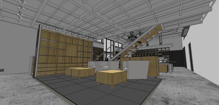 现代工业风办公室室内su模型设计 (8)