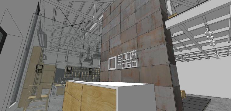 现代工业风办公室室内su模型设计 (7)